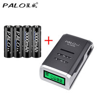 100 Original PALO LCD Smart Intelligent Battery Charger For AA AAA NiCd NiMh Batteries 4pcs 3000mah