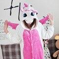 2017 Recién Llegado de Unicornio Pijamas Adultos Animal Cosplay Niños Siameses Pijamas de Dibujos Animados de Invierno de Franela Caliente Familia Equipada Al Por Mayor