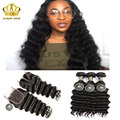 brazilian virgin hair with closure 3/4 pcs with lace closure mydiva hair 8a with closure Natural Wave/More Wavy/Loose Deep Wave