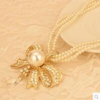 Pearl Bow Bib Pendant Necklace New 2014 Korea Luxury Brand Fashion Jewelry Ladies Collars Women Accessories