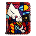 New arrival Cartoon cat printed wallet short paragraph thin PU leather retro handmade purses card holder Lovely Clutch pack Mini