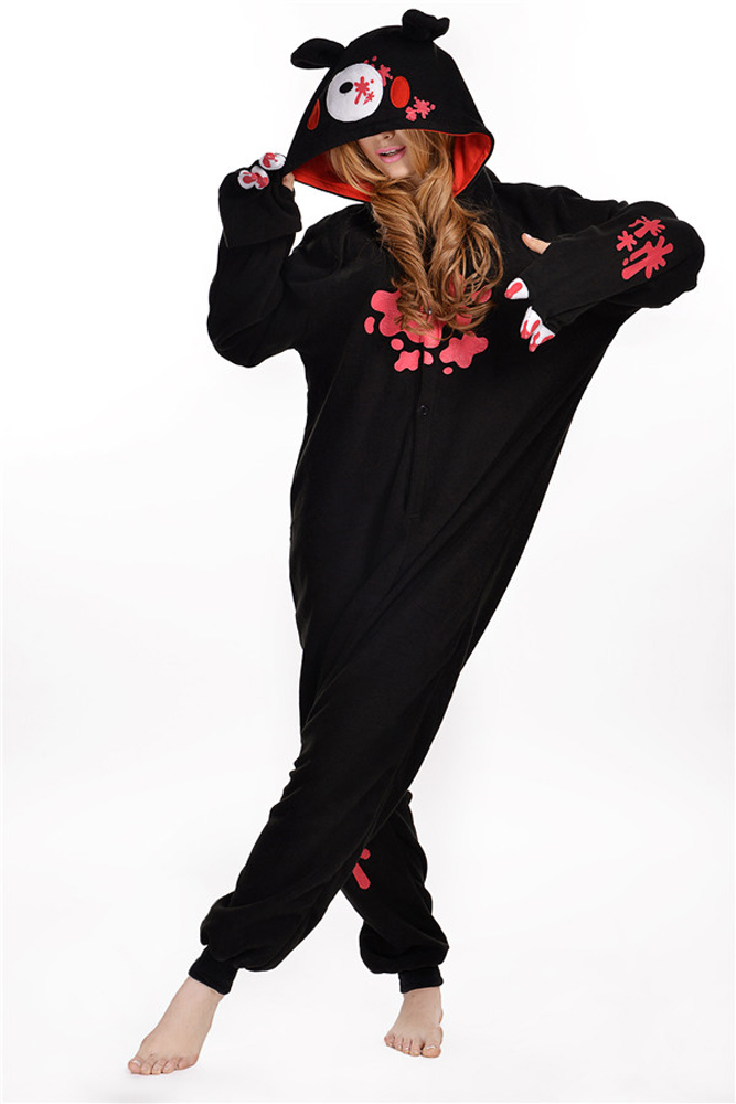 cosplay costume black bear cartoon animal kengurumi pajamas one piece sleepwear pyjama femme. Black Bedroom Furniture Sets. Home Design Ideas