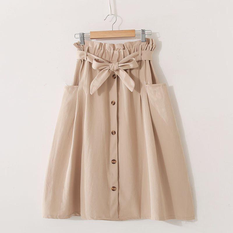 Retro Skirts Casual Elegant Party Simple OL Ladies Preppy Korean Style Aline Button Green Female Fashion Summer Vintage Skirt