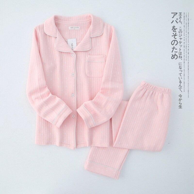 Autumn&Winter Women Long Sleeves Cotton Air Layer Sandwich Warm   Pajama     Set   Full Pijama Mujer Sleeping Wear   Sets   Home Sleepwear