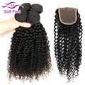 7A Peruvian Kinky Curly Virgin Hair Sale 3 Bundles Human Hair Weave With Closure 4 Pcs Lot Cheap Remy Hair Bundles With Closure