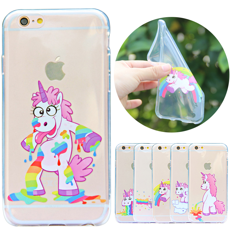Funny Cute Case For iPhone 5 5S SE Cover Rainbow Unicorn Transparent Clear TPU Silicone Coque Capinha For iPhone 5S SE 5 S Case