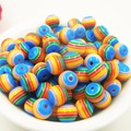 100pcs 8mm Hot New!!! DIY Resin mixed blue Rainbow Color stripe Beads for Making necklace bracelet accessories ev-nbc5