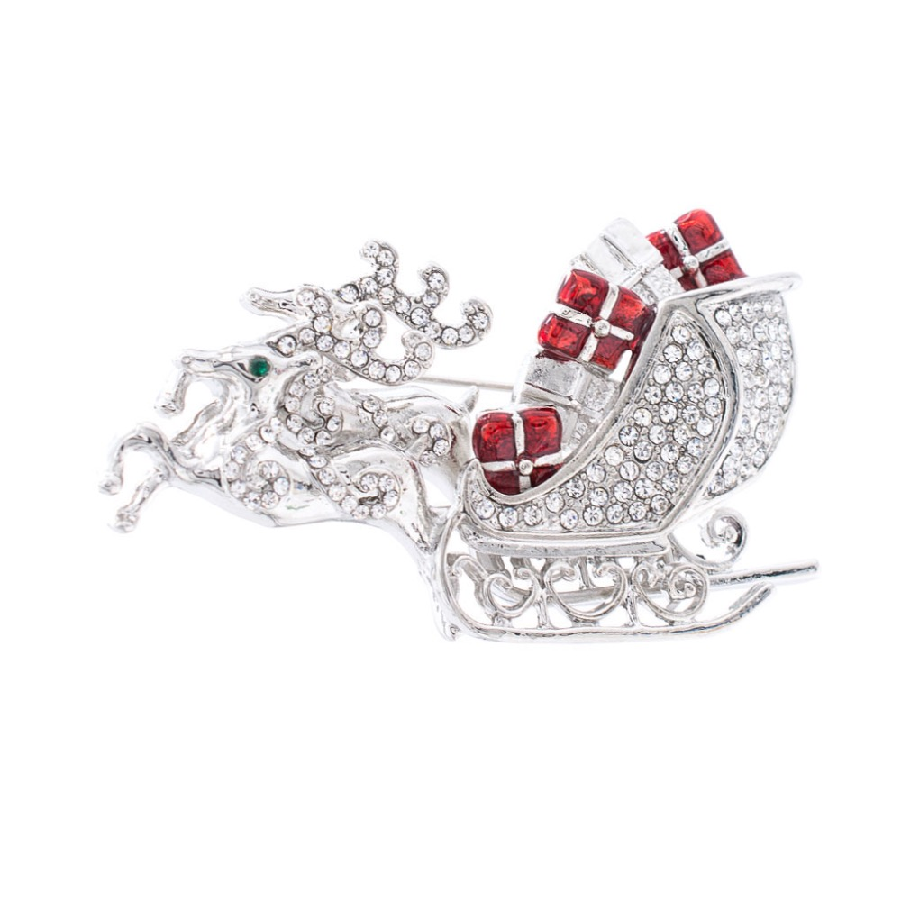 Silver Tone Crystal Rhinestone Christmas Deer Gift Sled Brooch Broach Women Dress Pin Xmas Party Jewelry FA5072SIL