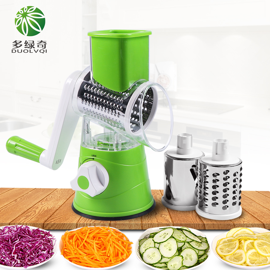 DUOLVQI Manual Vegetable Cutter Slicer Multifunctional Round Mandoline Slicer Potato Cheese Kitchen Gadgets Kitchen Accessories(China)
