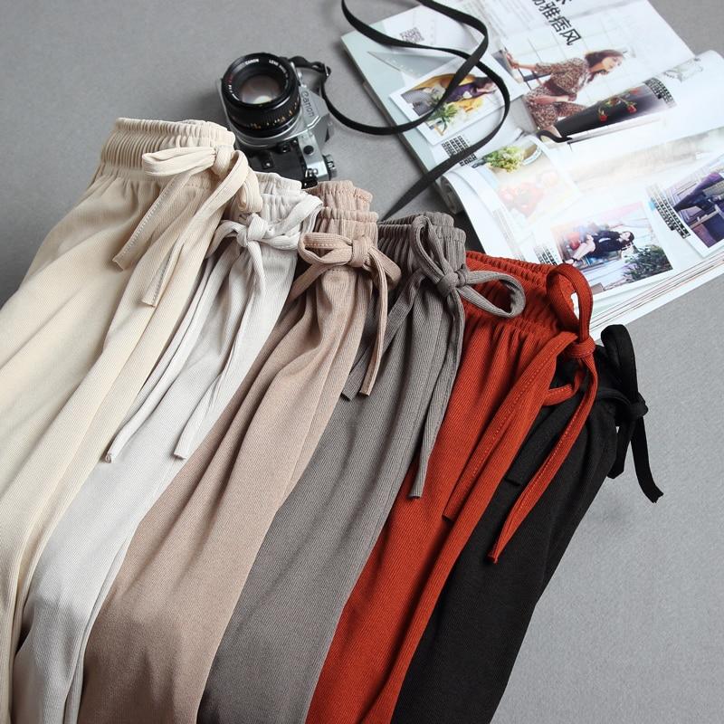 Casual khaki women harem   pants   Lace up string pleated pocket   pants     capris   Streetwear solid plus size pencil work   pants   PP341