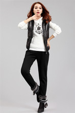 plus size women's Korean version of the new cotton casual sweater vest fitted three-piece