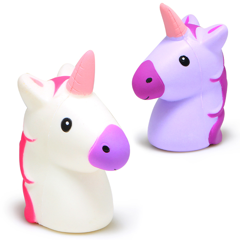 8CM Unicorn Head Squishy Cute Doll Squishies Cream Scented Slow Rising Phone Strap Squeeze Toys Kids Gift Original Package