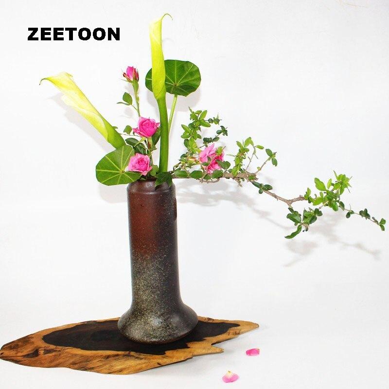 Zen Tabletop Vase Flower Pot Ikebana Coarse Pottery Hydroponic Ceramic Container Flower Arrangement Handmade Vintage Home DecorZen Tabletop Vase Flower Pot Ikebana Coarse Pottery Hydroponic Ceramic Container Flower Arrangement Handmade Vintage Home Decor