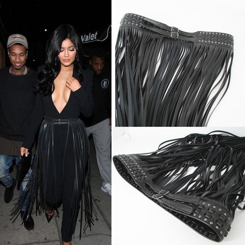 Europe fashion Punk rivet rope long tassel girdle female Black Leather Belt wild for women High