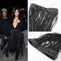Европа мода Punk заклепки веревка длинной кисточкой ремень женский Черный Кожаный Ремень дикий для женщин Высокая Талия Frianged пояса