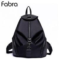 Fabra New Fashion Women Backpacks Small Shoulder Bag Female Rivet Backpack Waterproof Nylon Bags Black Daypacks