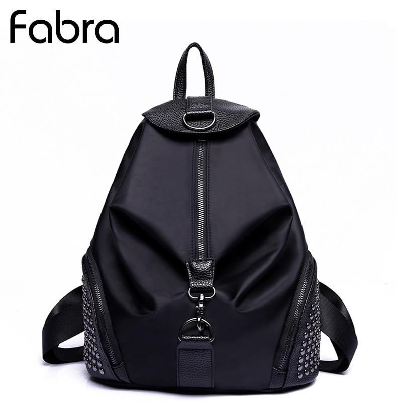 Fabra New Fashion Women Backpacks Small Shoulder Bag Female Rivet Backpack Waterproof Nylon Bags Black Daypacks Preppy style