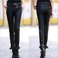 Бальк S-5XL женщин плюс размер кожаные штаны мода slim PU Брюки Женские Осень и Зима Эластичность брюки