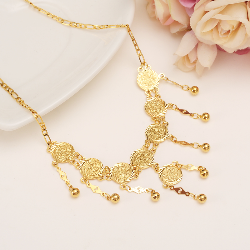 45cm high quality Islam Coin chocker Chain Jewelry Arab Necklace Gold Color Africa Middle East Metal Coin /Israel/Turkey/Egypt