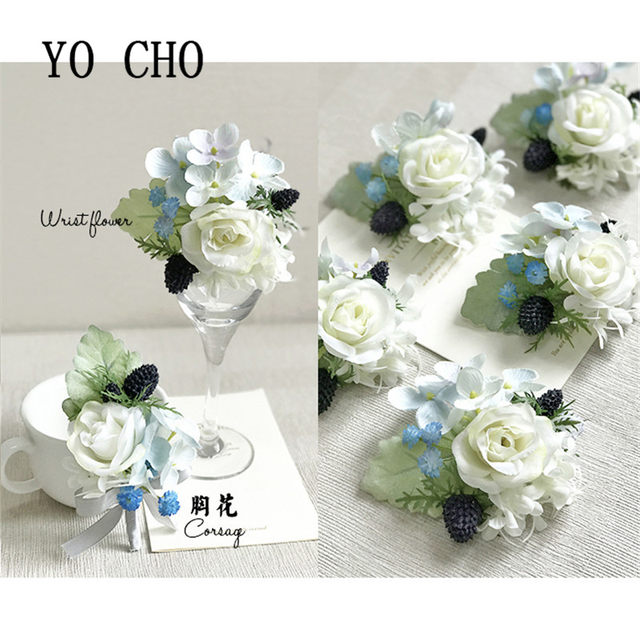 Yo Cho Royal Blue Rose Wrist Corsage Bracelet Hand Flowers Brooch Party Bridal Prom Wedding Decor Photography Props Boutonniere