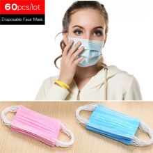 60 шт./лот 3-х слойная защита от пыли одноразовая маска для лица медицинские стоматологические ушной защита рот маски живопись работающий один раз