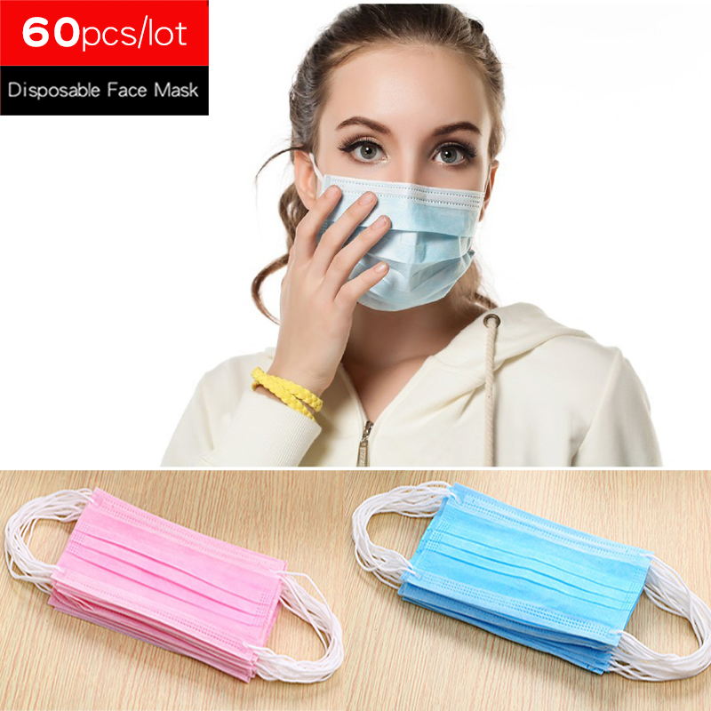 60pcs/lot 3-Ply Anti Dust Disposable Face Mask Medical Dental Earloop Mouth Protection Masks Painting Running Working One Time