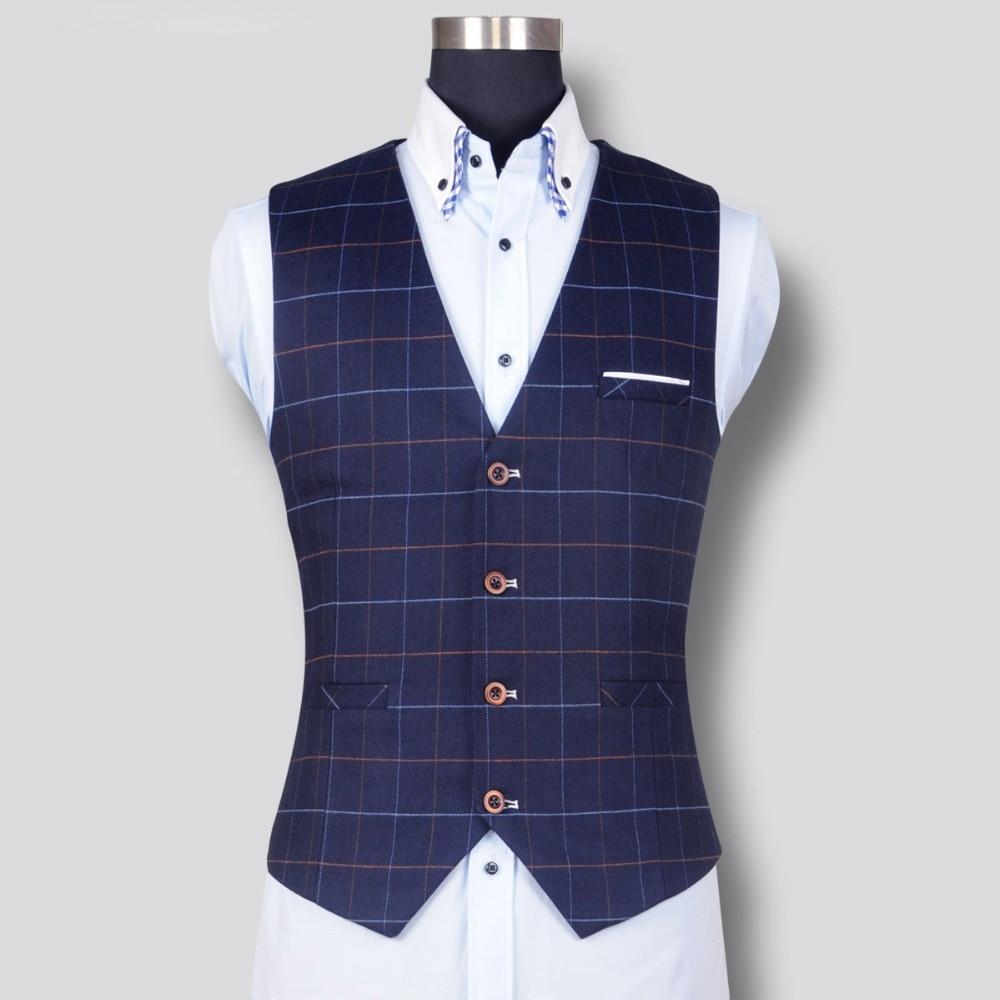 New Fashion Men's Plaid Vest Formal Dress Business Casual Slim Suit Vest British Style Waistcoat S-4XL Good Quality