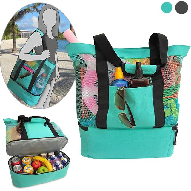 Portable Insulated Cooler Bag Food Picnic Beach Mesh Bags Tote Waterproof J2y