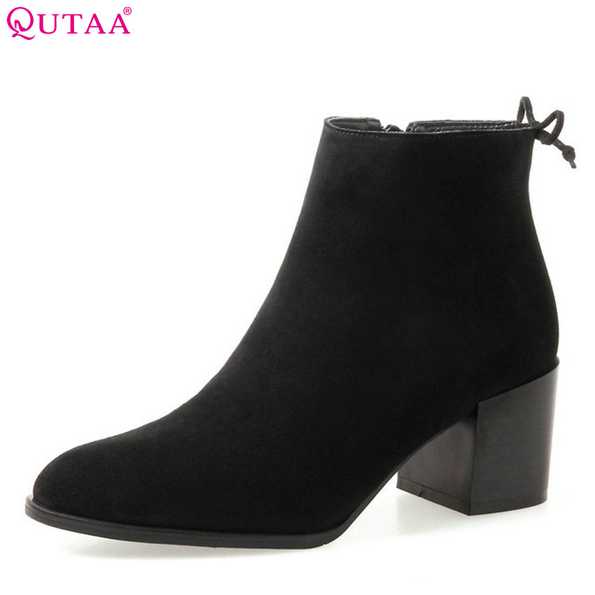 QUTAA 2018 New Women Fashion Ankle Boots Pointed Toe Zipper Square High Heel Cow Suede All Match Women Boots Size  34-39 nemaone 2018 women ankle boots square high heel pointed toe zipper fashion all match spring and autumn ladies boots