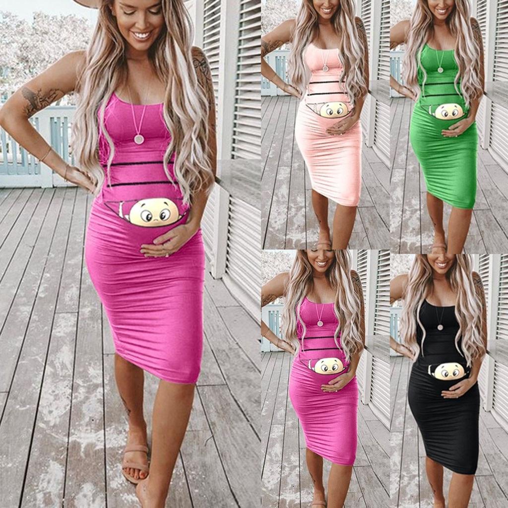 New 2019 Women Maternity Dress Fashion Solid Color Sleeveless Maternity Pregnat Comfortable Midi Pregnancy Dress Clothes