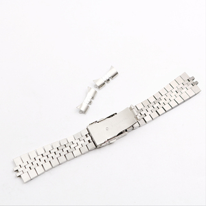 Image 3 - CARLYWET 22mm Hollow Curved End Solid Screw Links Stainless Steel Silver Watch Band VINTAGE Jubilee Bracelet Double Push Clasp