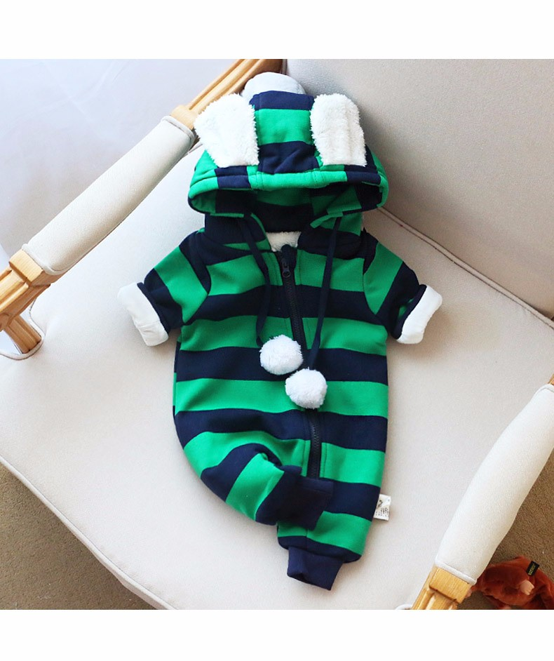 Baby girls boys winter striped rompers (12)