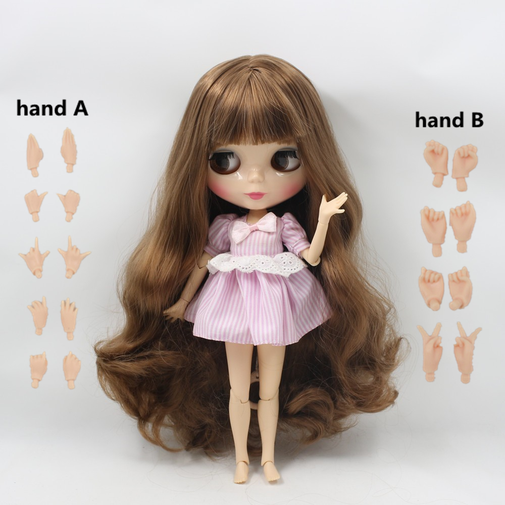 Blythe Nude Doll from Factory Jointed Body Black Long Curly Hair With Bang