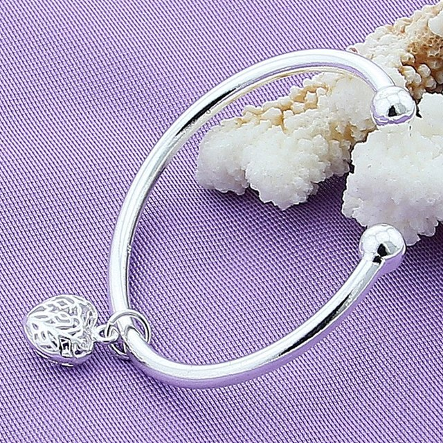 Sterling Silver Women's Bracelet Bangles Fashion Charm Heart 925 Silver Cuff Bracelet Bangles Jewelry by Doteffil