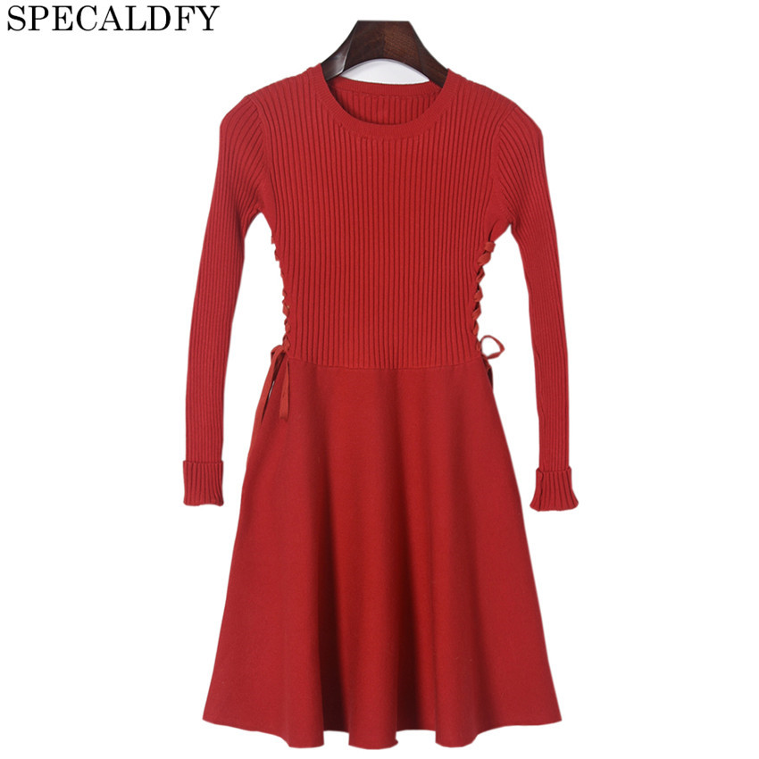 Autumn Winter Knitted Sweater Dress Women Round Neck Long Sleeve Side Lace Up A-Line Knitting Dresses 2018 New Fashion Vestidos