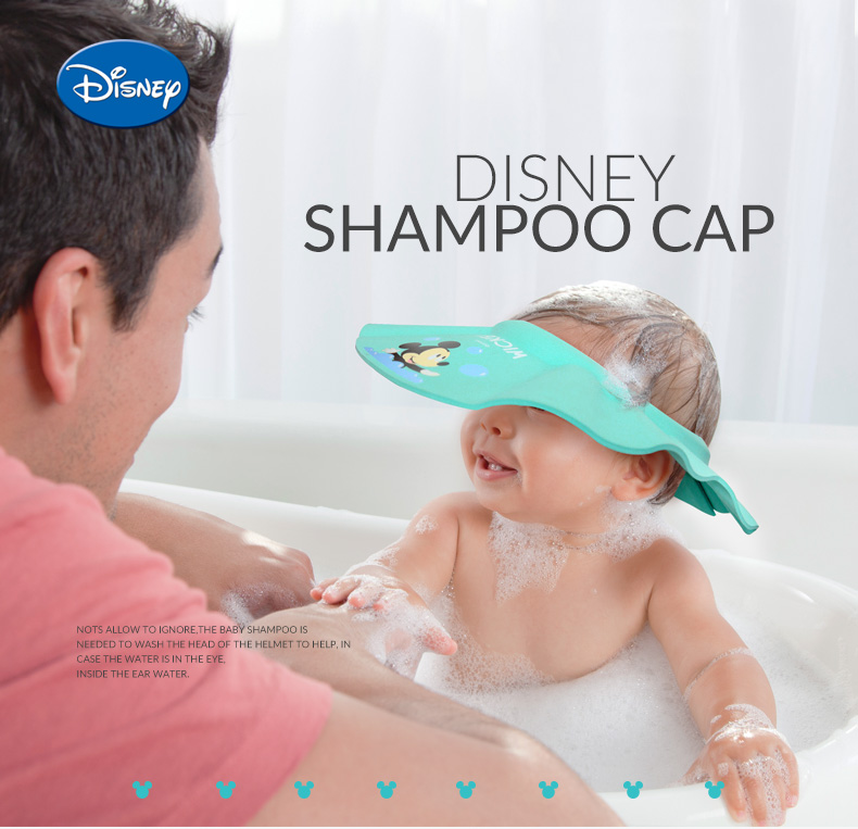 Disney Adjustable Baby Shampoo Cap Cartoon Shower Hat Wash Hair Shield Shower Shield Hat Baby Care Children Bath Head Hats