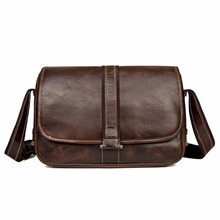 J.M.D Prime Cow Leather Small Bag Portable Flap Leather Bag Brown Messenger Cross Body Bag Adjustable Sling Bag For Adults 1030Q
