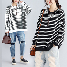 Cotton Hoodie Stripped Female Sweatshirt Batwing Oversize Obrix Korean-Style Long-Sleeve