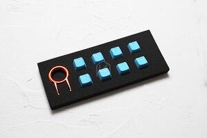 Image 4 - Zestaw gumowych klawiszy do gier taihao gumowany podwójny zestaw klawiszy Cherry MX profil oem połysk zestaw 8 magenta jasnoniebieski