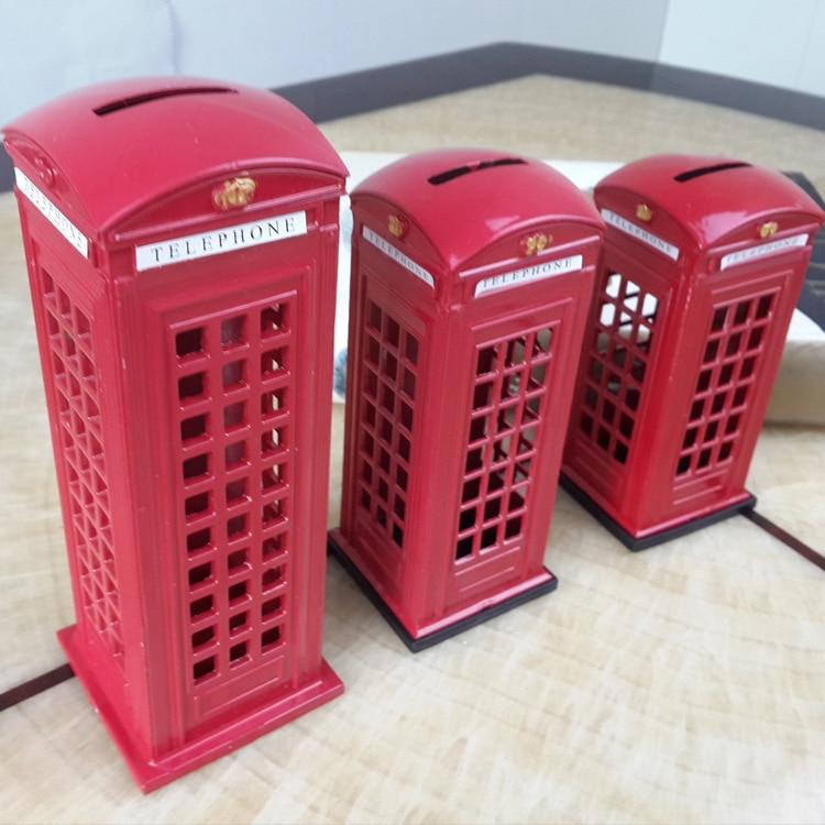 Metal Rojo Inglés Británico de Londres Cabina de Teléfono Banco de ...