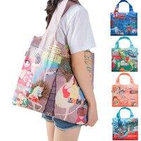 Женская Экологичная складная сумка для покупок зеленые многоразовые для бакалейный продуктов Сумка женская наплечная сумка с мультяшным п...