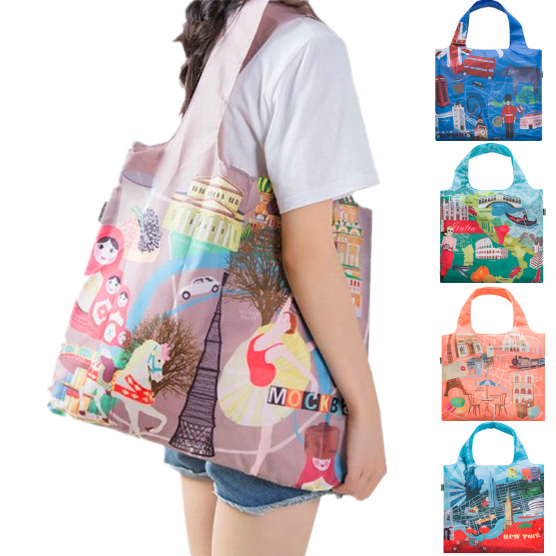 Women Eco Friendly Folding Shopping Bag Green Reusable Grocery Pouch Female Shoulder Bag Cartoon Printing Foldable Handbag Tote