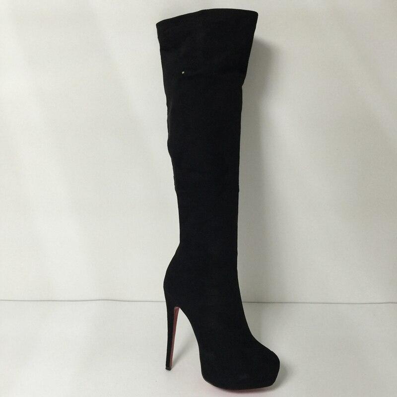 Черные Сапоги выше колена; женские сапоги на высоком каблуке с красной подошвой; зимняя женская обувь на платформе и каблуке; Размер 12; онлай