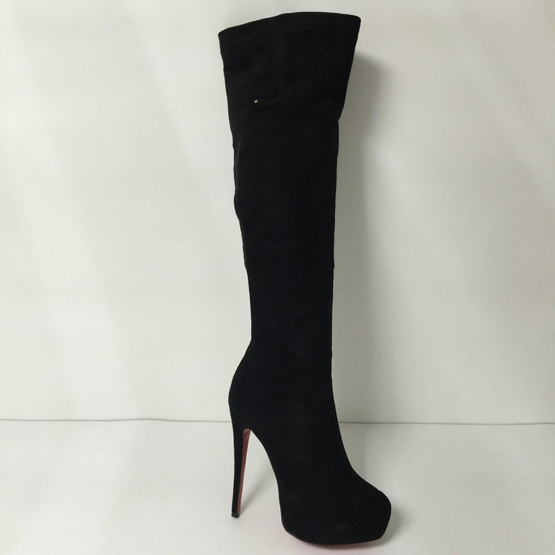 641b09eec65 Black Over the Knee Boots Red Bottom High Heel Women Boots Shoes ...