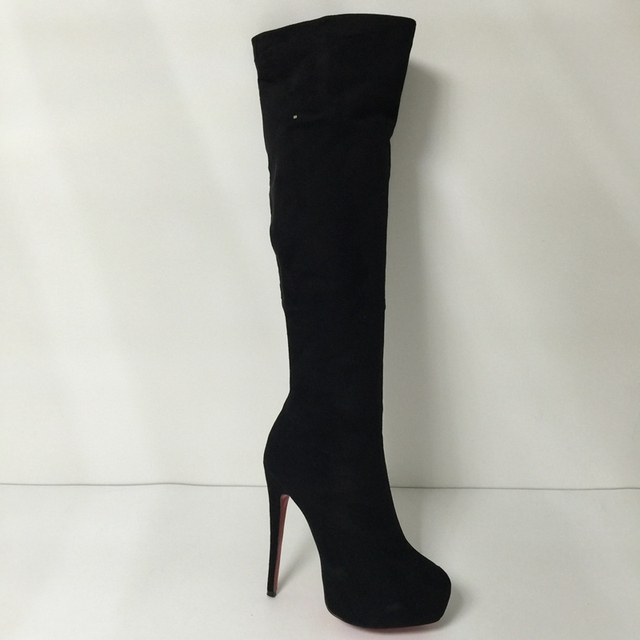Black Over the Knee Boots Red Bottom High Heel Women Boots Shoes Winter Style Platform Size 12 Heels Ladies Shoes Online