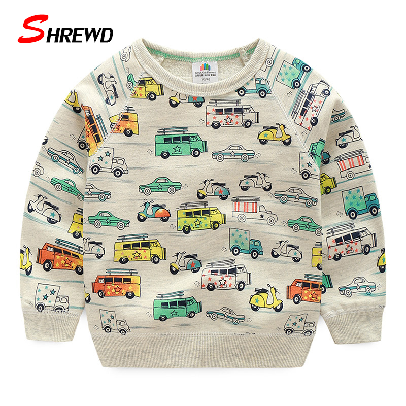Boys T shirt 2018 Spring Fashion Cartoon Car Print Boys Sweatshirt Cute Long Sleeve Casual Hoodies Baby Boys Clothes 4233Z round neck long sleeve 3d coins print sweatshirt
