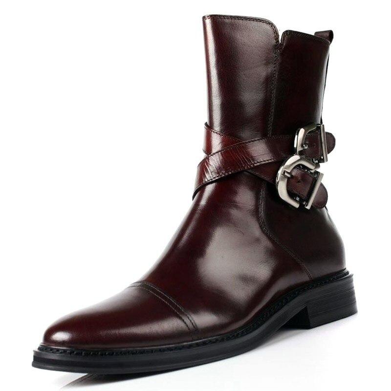 Kleid Top Echt Black Büroarbeit Schnalle Leder Stiefeletten Italien Winter Herren High Schuhe Biker Militär brown Designer Luxus Sicherheit HI7I1YRW
