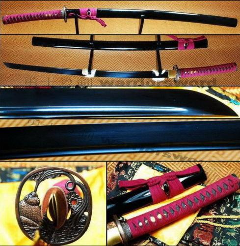 Полный Тан черный острое лезвие лягушка дизайн японская Цуба Катана самурайский меч #222