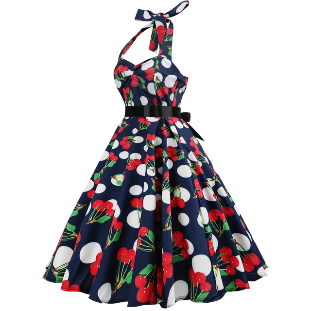 Cherry Print Robe Vintage 50s Rockabilly Dress 2018 Fashion Summer Dresses for Women Halter Elegant Big Swing Knee-Length Dress