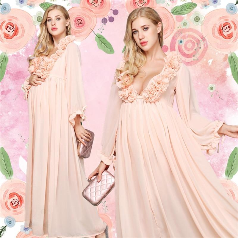 Maternity Photo Shoot Maxi Dress Nightdress For Pregnant Women Photography  Pregnancy Props Long Dresses Photo Shoot cd477462a0c2